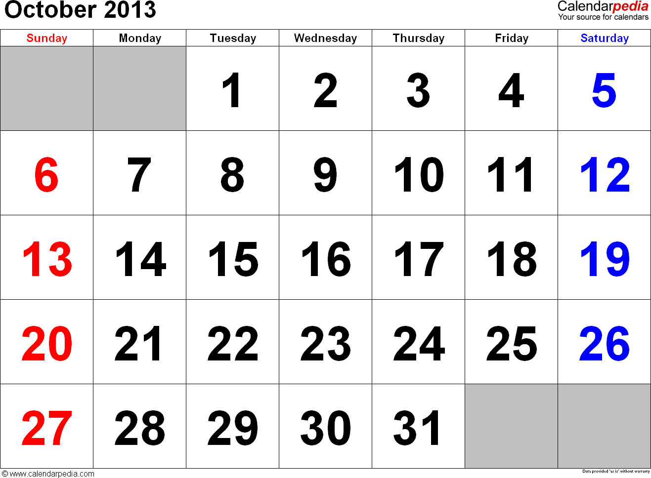 October 2013 calendar, landscape orientation, large numerals, available as printable templates for Word, Excel and PDF