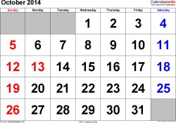 October 2014 calendar, landscape orientation, large numerals, available as printable templates for Word, Excel and PDF