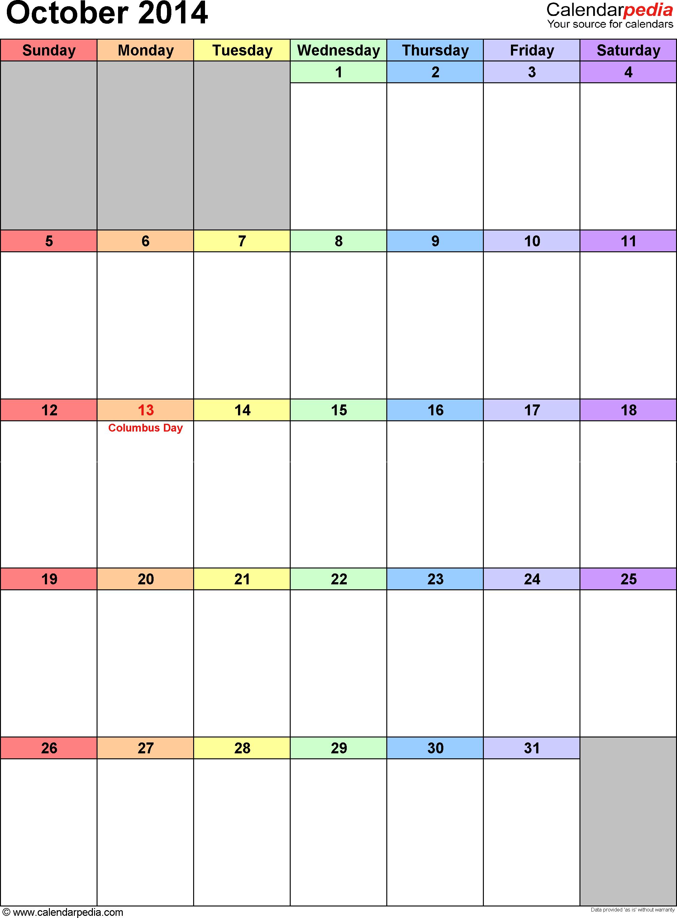 October 2014 calendar, portrait orientation, 'rainbow calendar', available as printable templates for Word, Excel and PDF