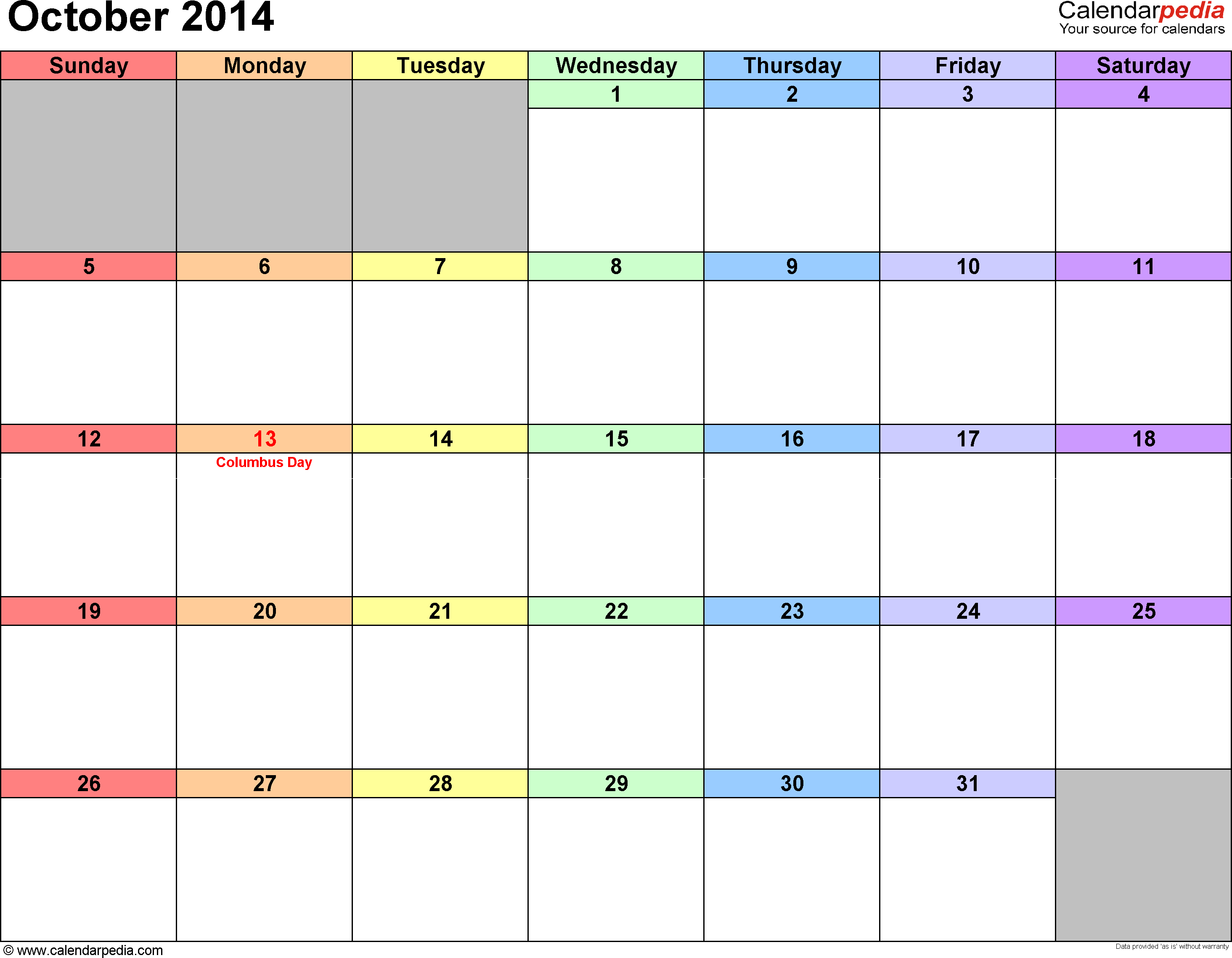 October 2014 calendar, landscape orientation, 'rainbow calendar', available as printable templates for Word, Excel and PDF