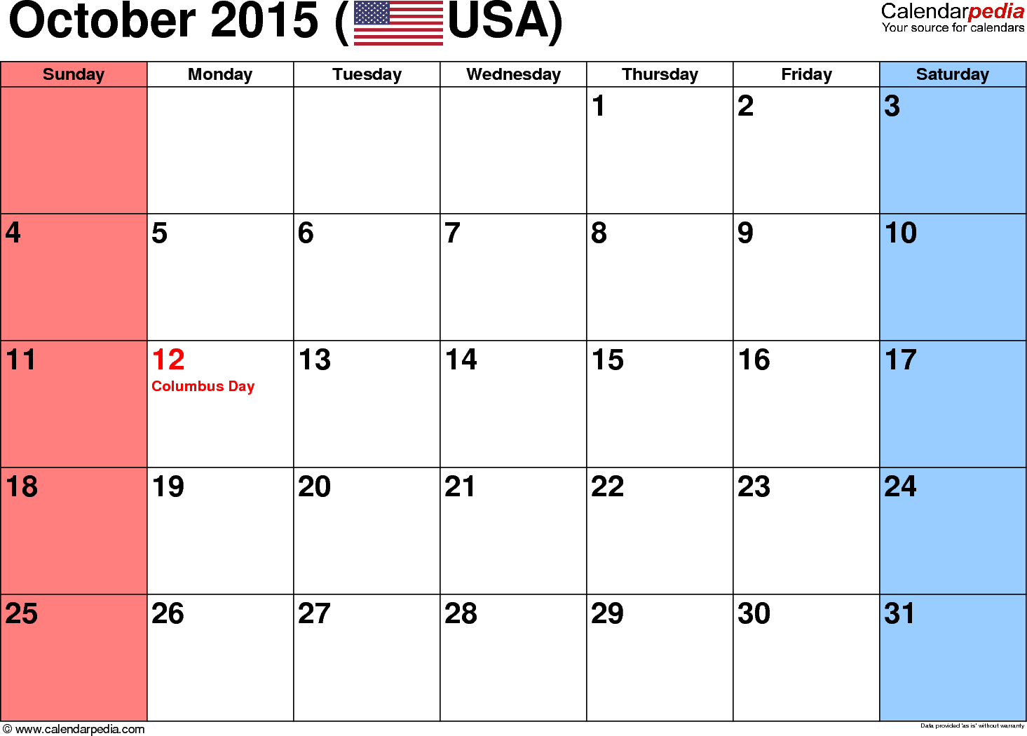template 3 october 2015 calendar landscape orientation small numerals