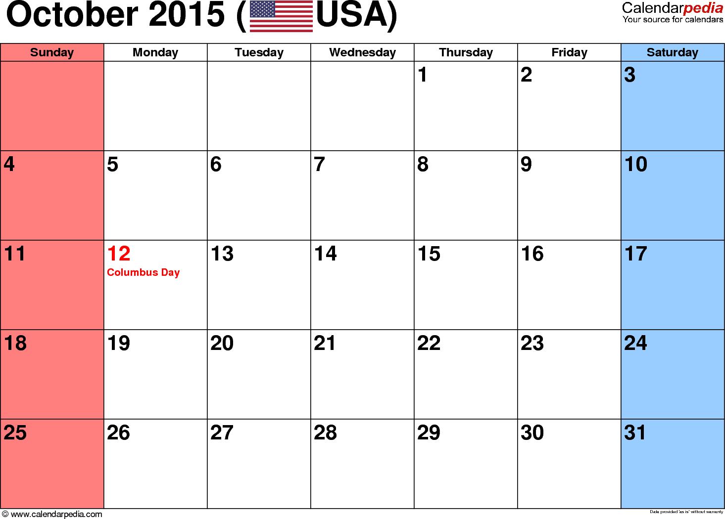 Blank October 2015 calendar