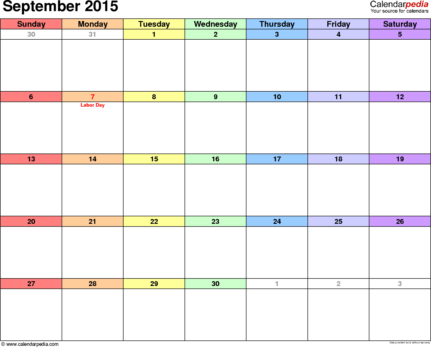 September 2015 calendar printable template