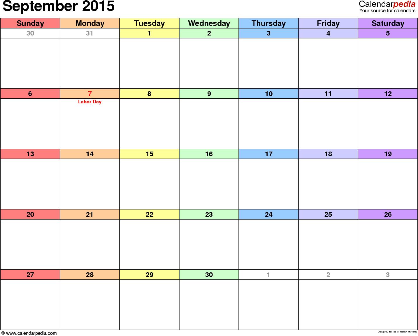 September 2015 calendar, landscape orientation, 'rainbow calendar', available as printable templates for Word, Excel and PDF