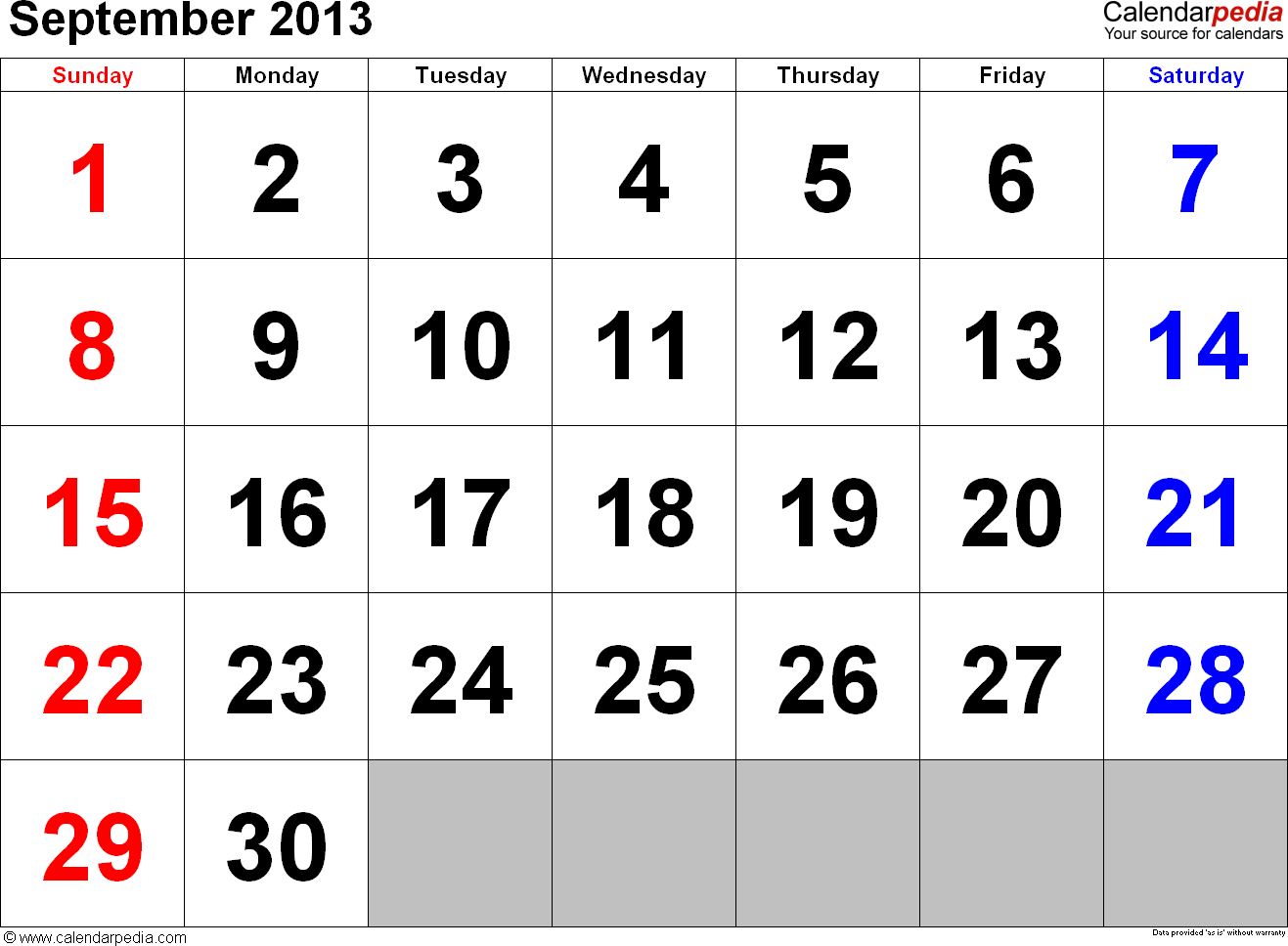 September 2013 calendar, landscape orientation, large numerals, available as printable templates for Word, Excel and PDF