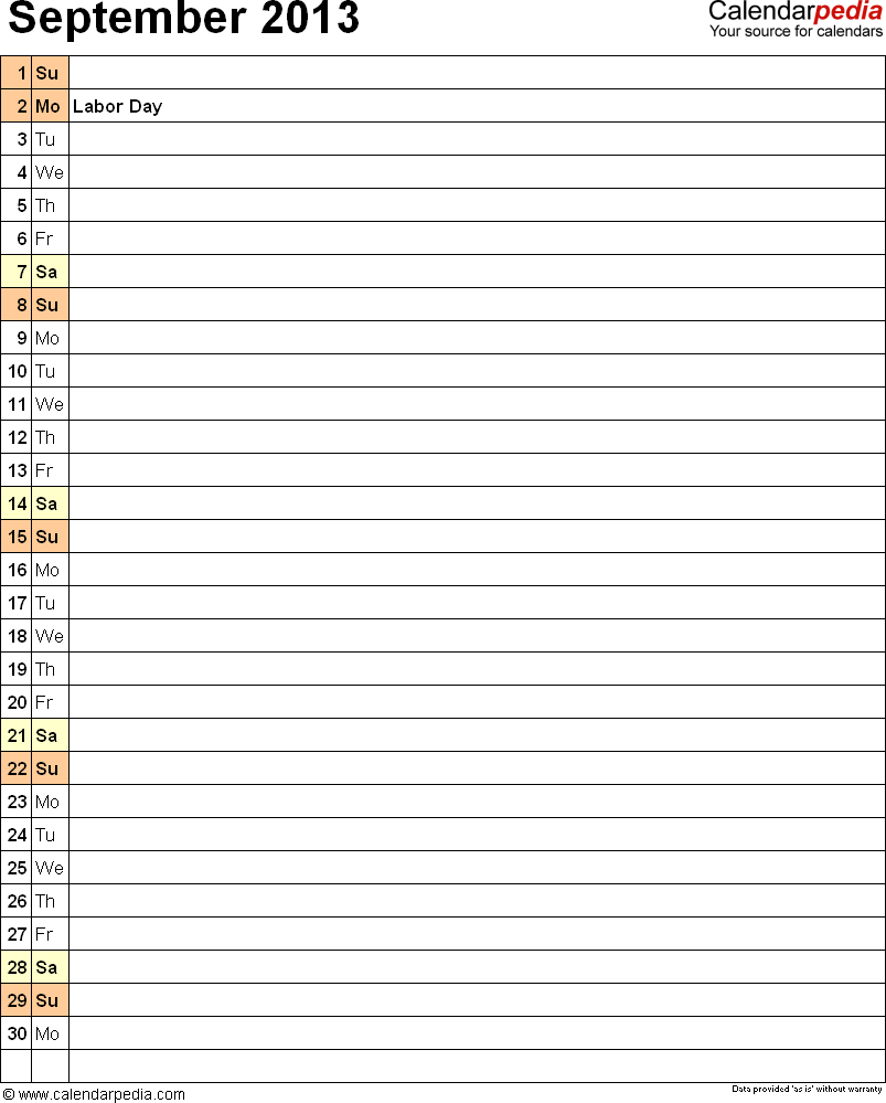 September 2013 calendar, portrait orientation, list view (days aligned vertically), available as printable templates for Word, Excel and PDF