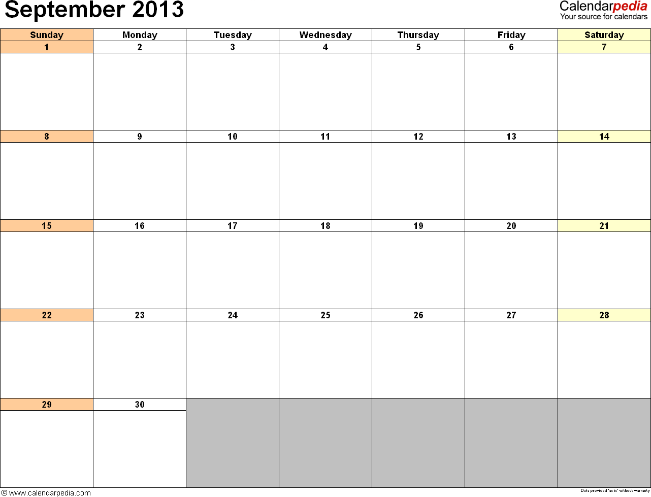 September 2013 calendar printable template