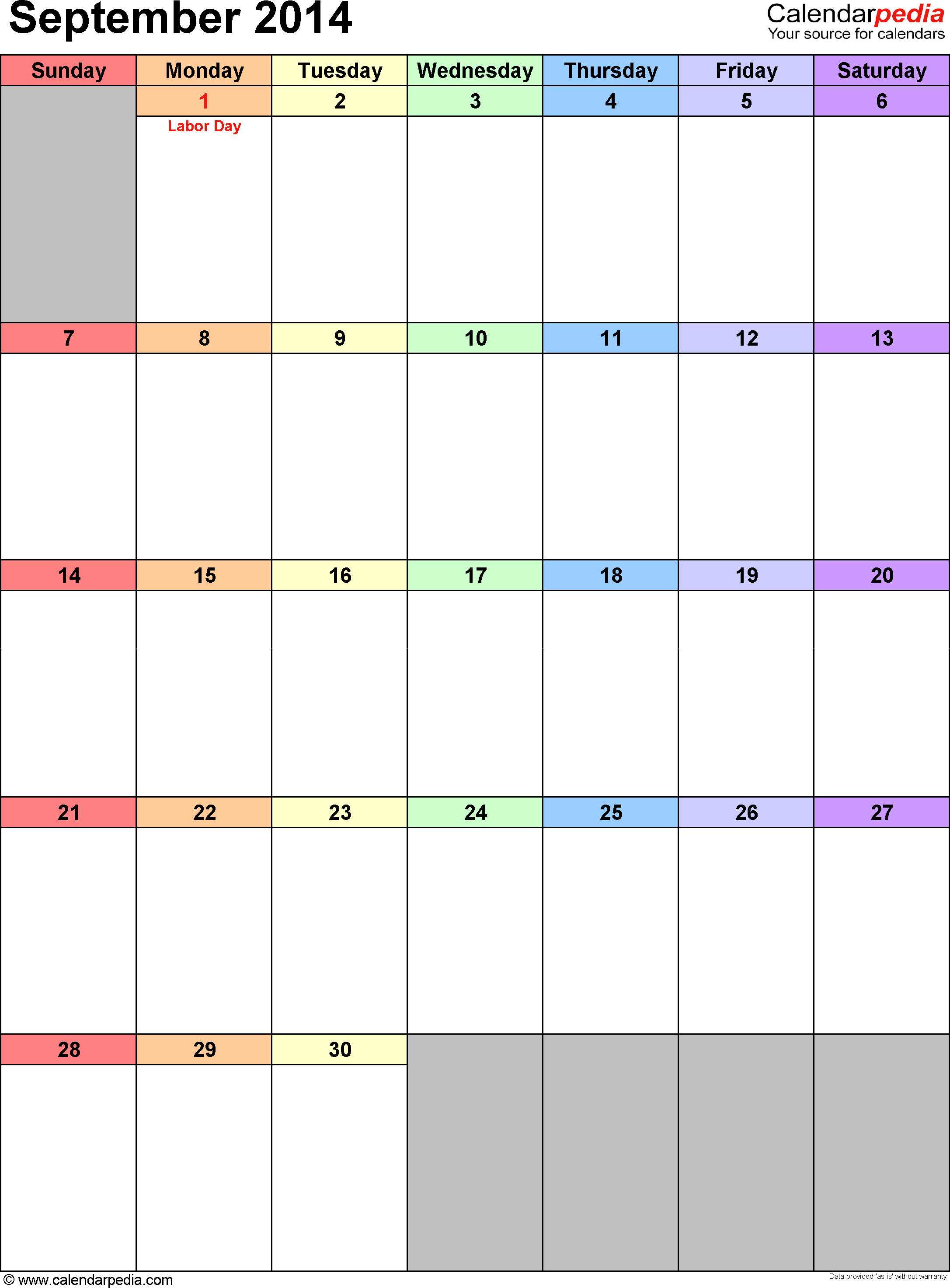 September 2014 calendar, portrait orientation, 'rainbow calendar', available as printable templates for Word, Excel and PDF