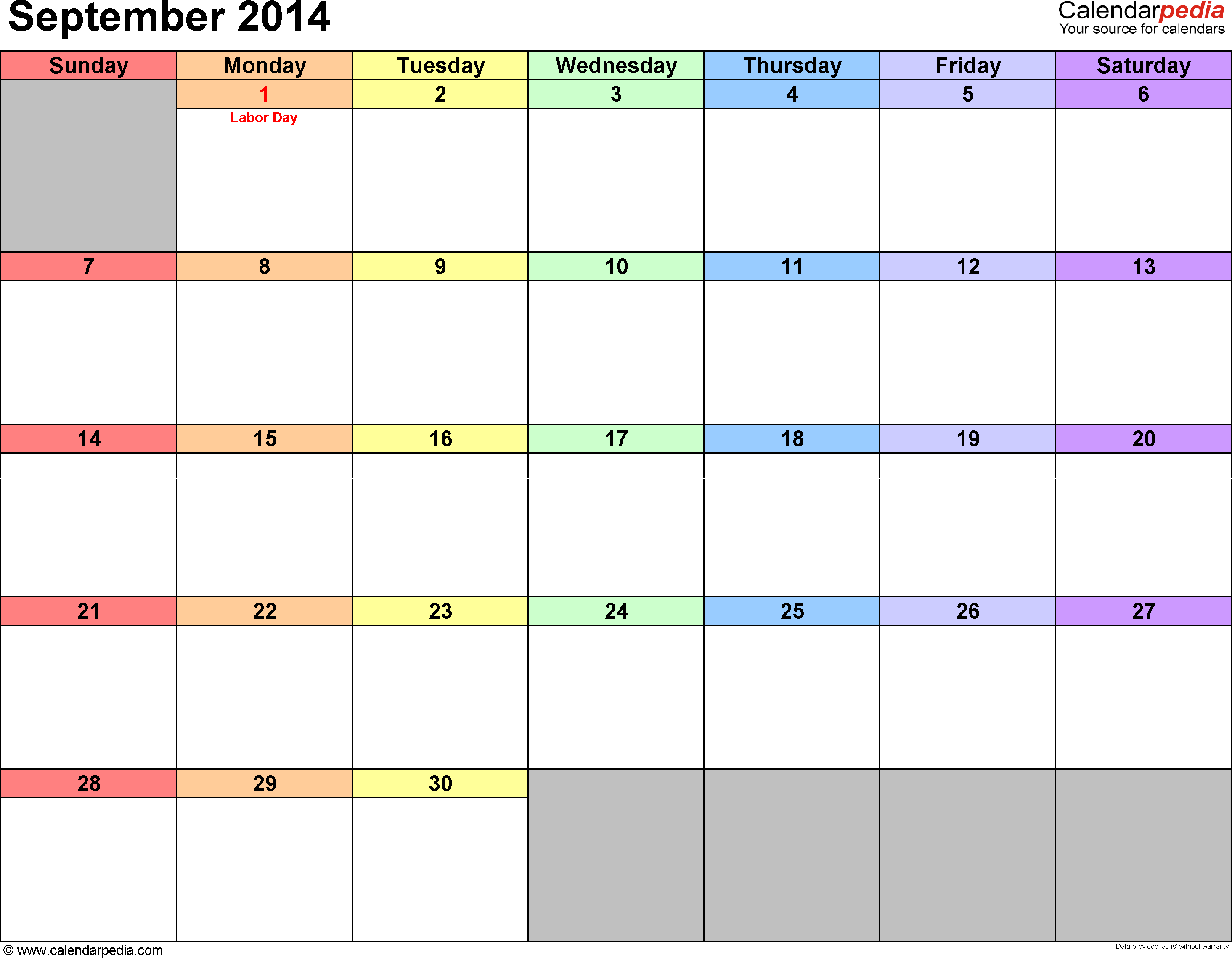 September 2014 calendar, landscape orientation, 'rainbow calendar', available as printable templates for Word, Excel and PDF