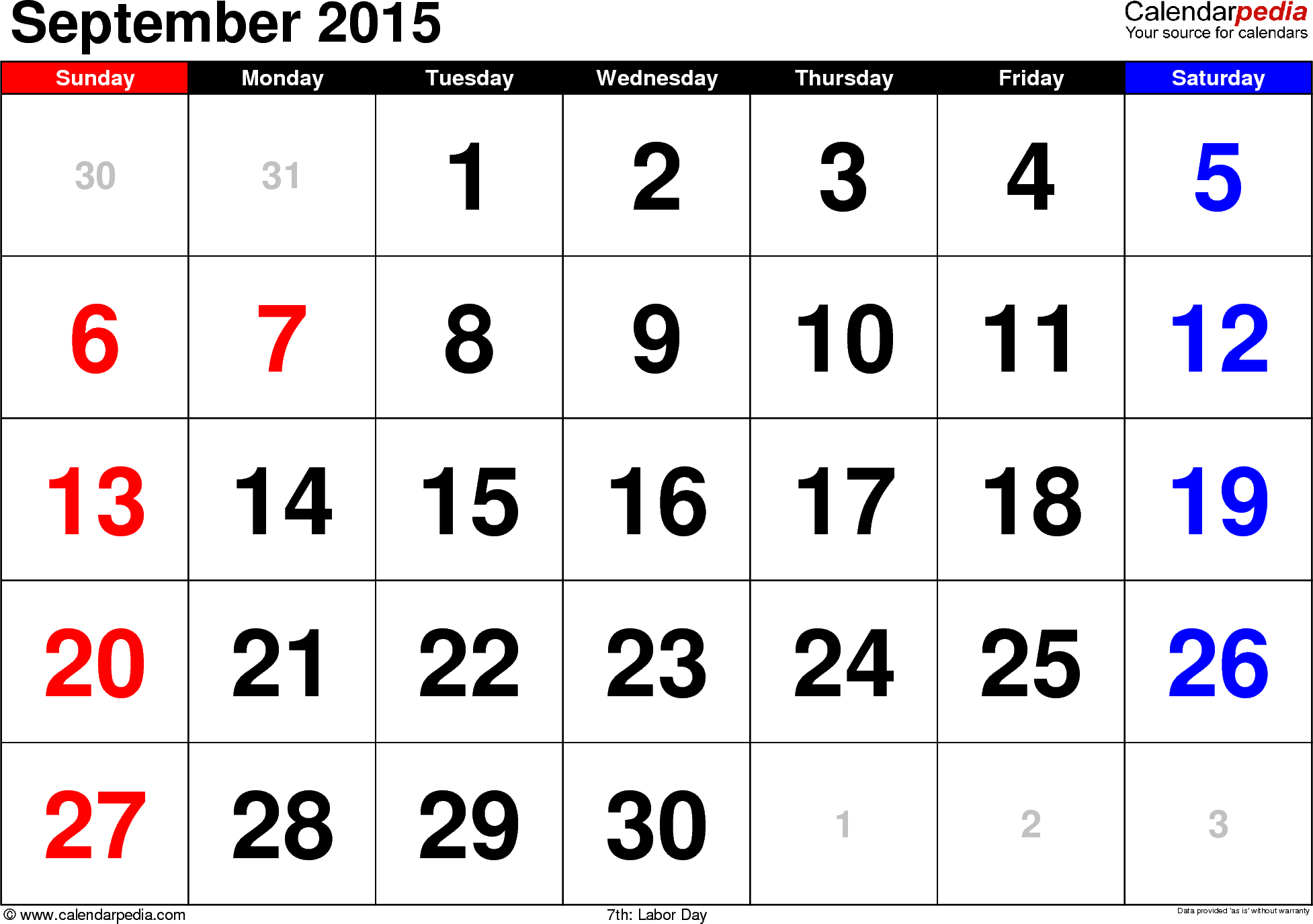 September 2015 calendar, landscape orientation, large numerals, available as printable templates for Word, Excel and PDF