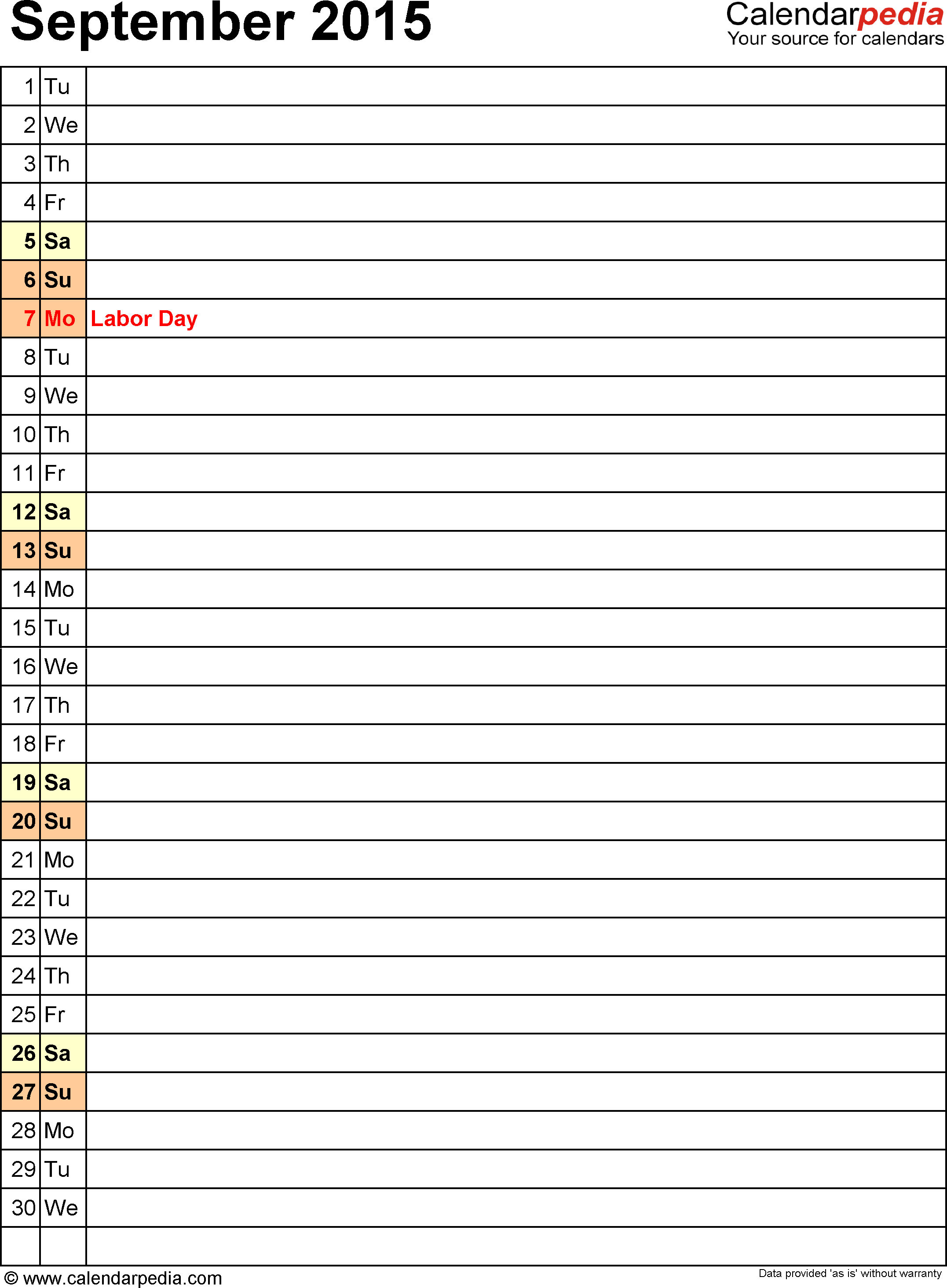 September 2015 calendar, portrait orientation, list view (days aligned vertically), available as printable templates for Word, Excel and PDF