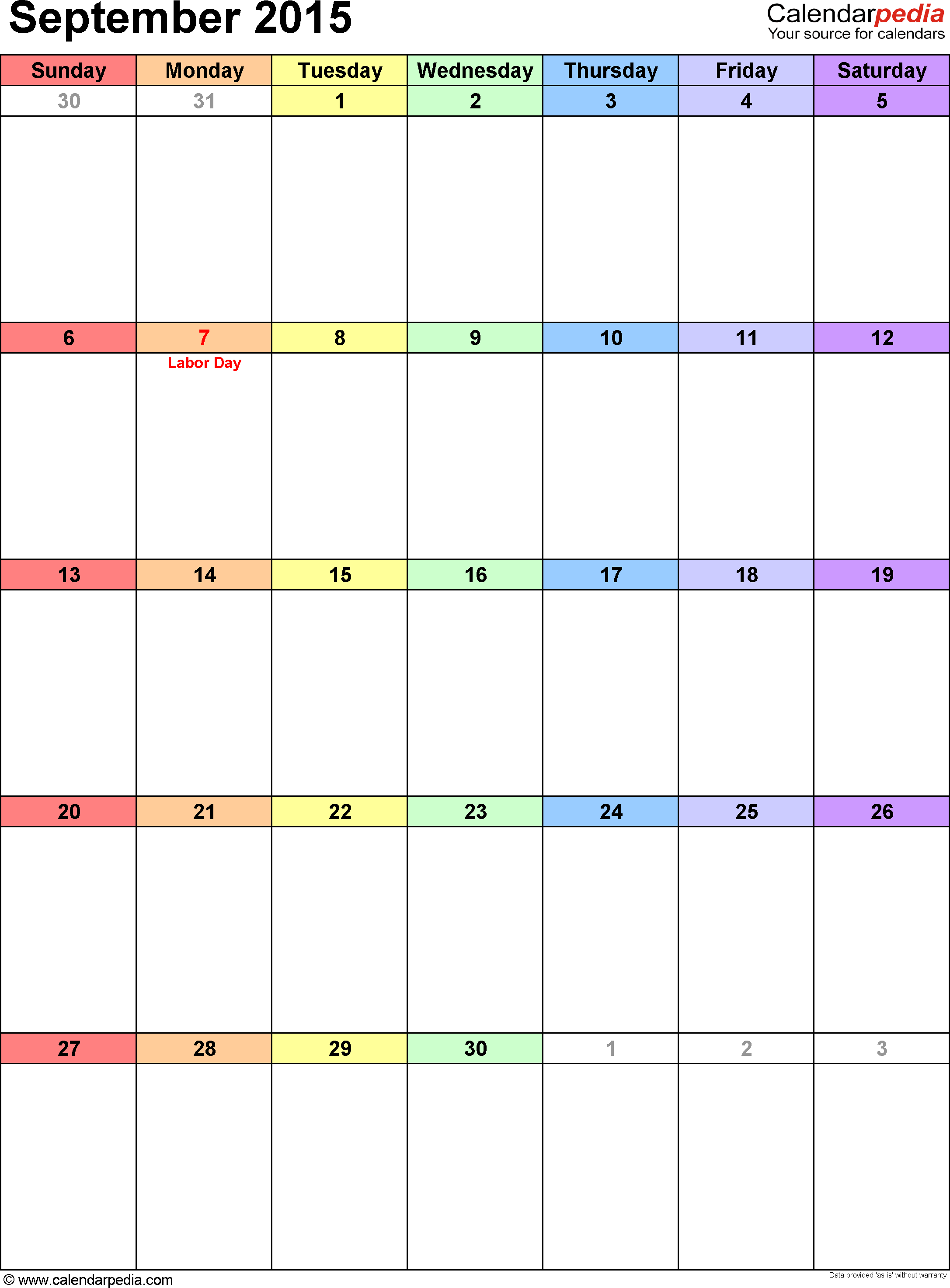 September 2015 calendar as printable Word, Excel & PDF templates