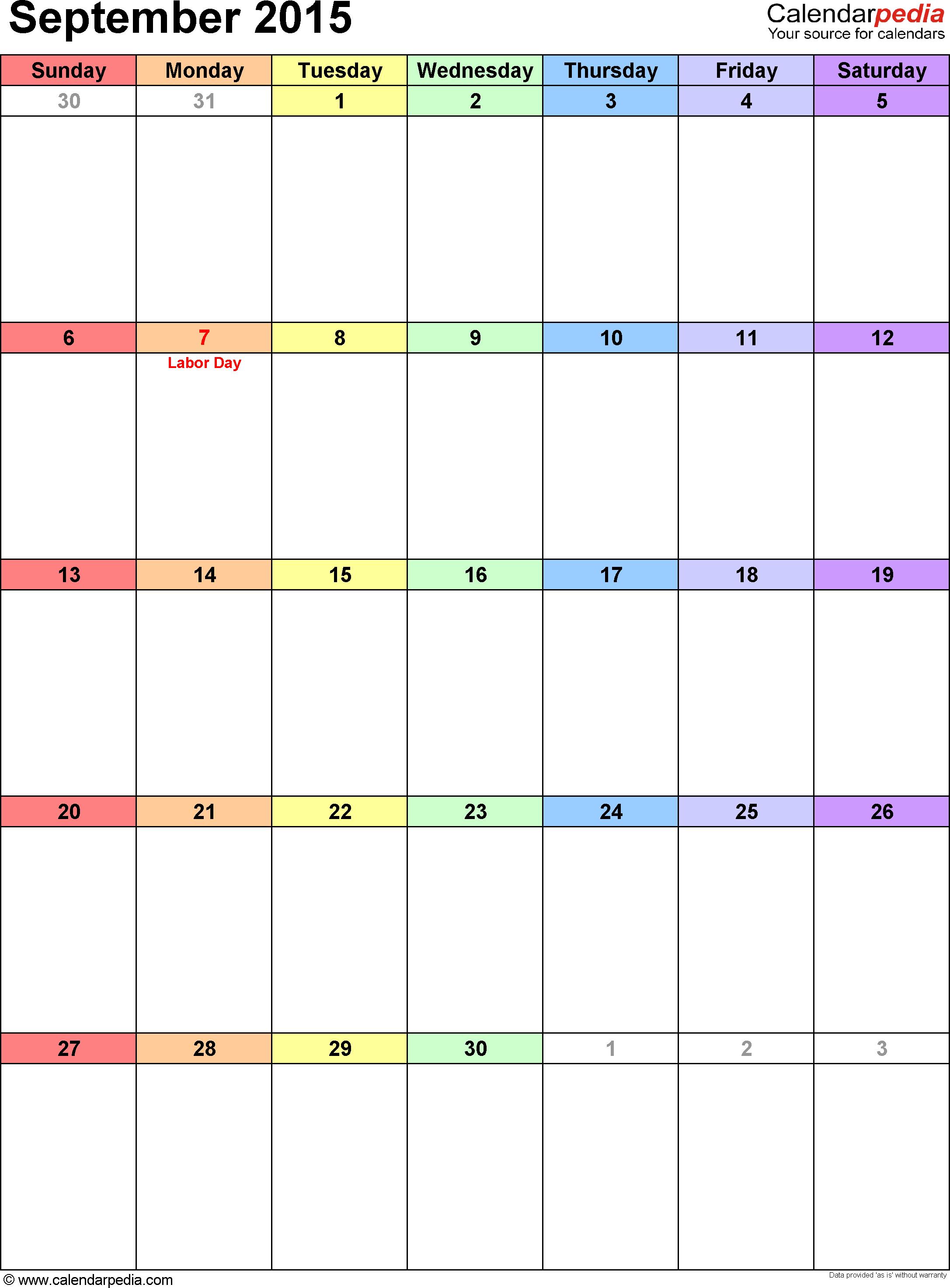 September 2015 calendar, portrait orientation, 'rainbow calendar', available as printable templates for Word, Excel and PDF