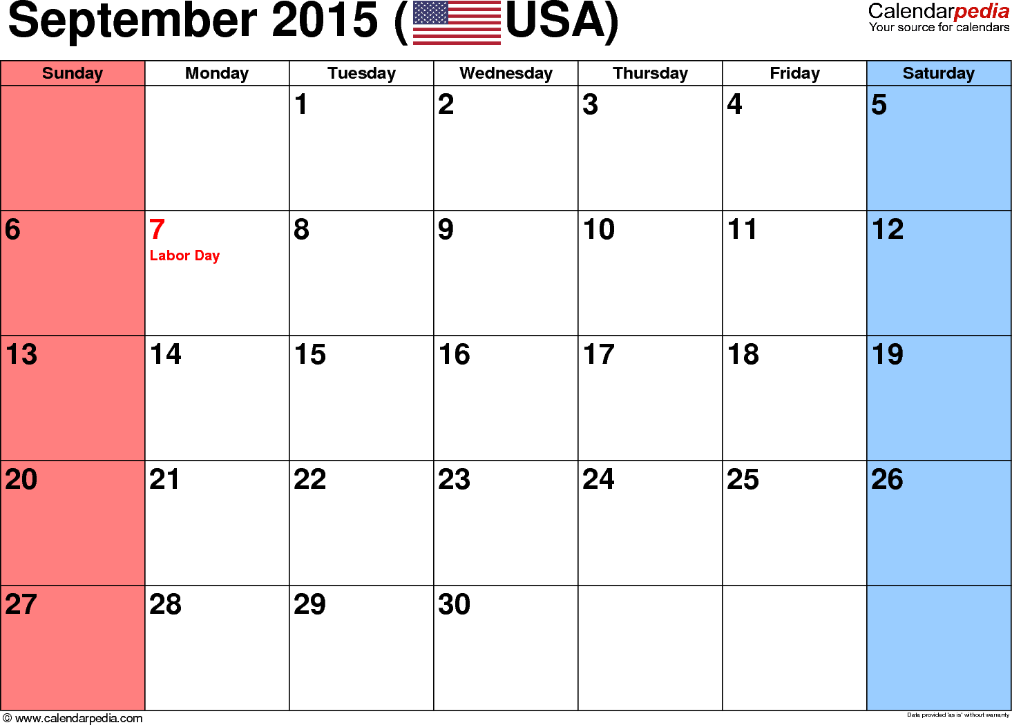 September 2015 calendar, landscape orientation, small numerals, available as printable templates for Word, Excel and PDF