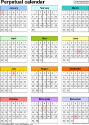 Template 10: Excel template for perpetual calendar (portrait orientation, 1 page)