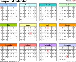 image relating to Perpetual Calendar Printable referred to as Perpetual calendars - 7 totally free printable PDF templates