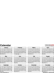 Template 4: Perpetual photo calendar for PDF, 12 pages, portrait format, whole year on one page