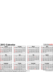Template 4: Photo calendar 2013 for PDF, 12 pages, portrait format, whole year on one page