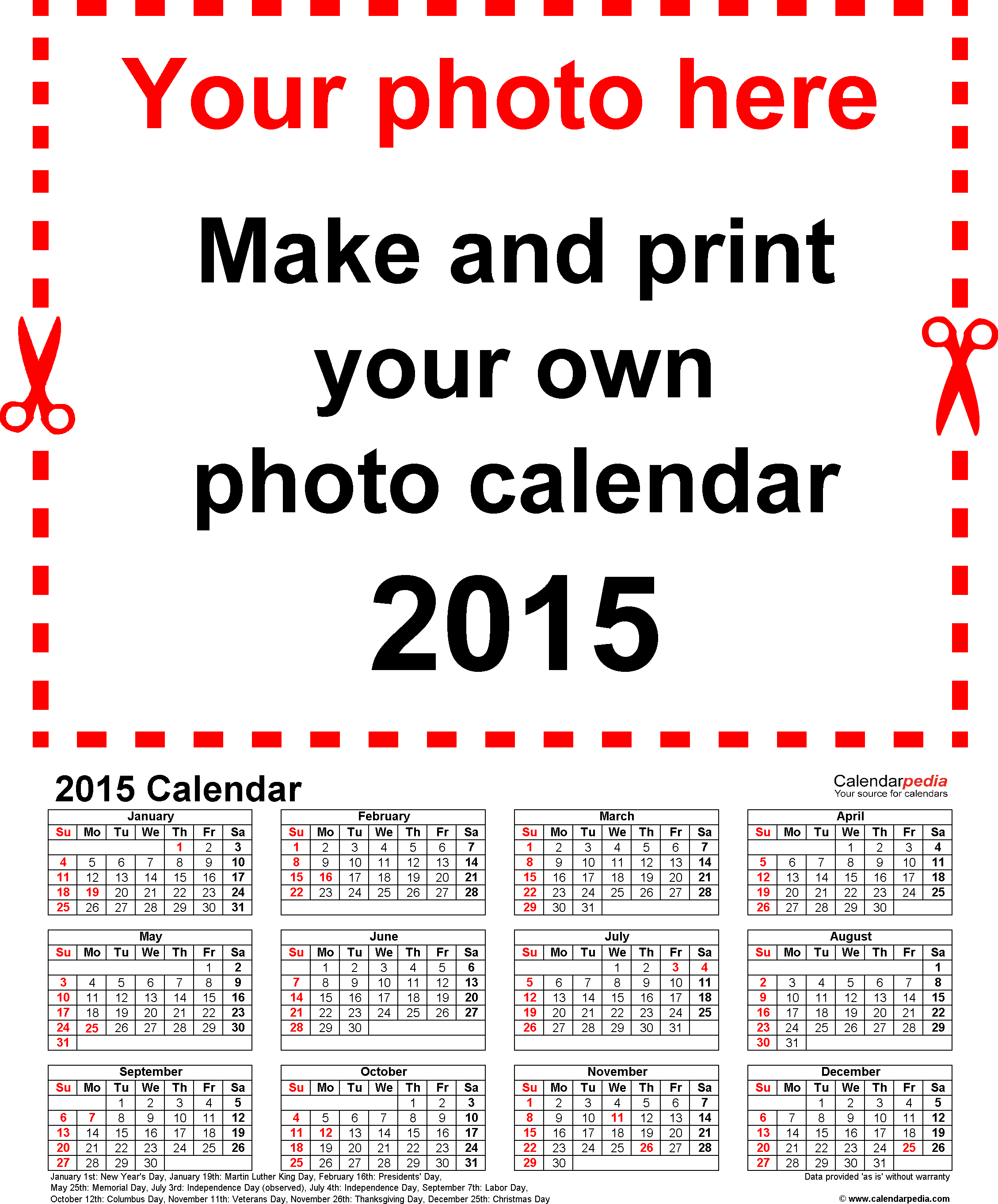 Template 4: Photo calendar 2015 for PDF, portrait format, whole year on one page