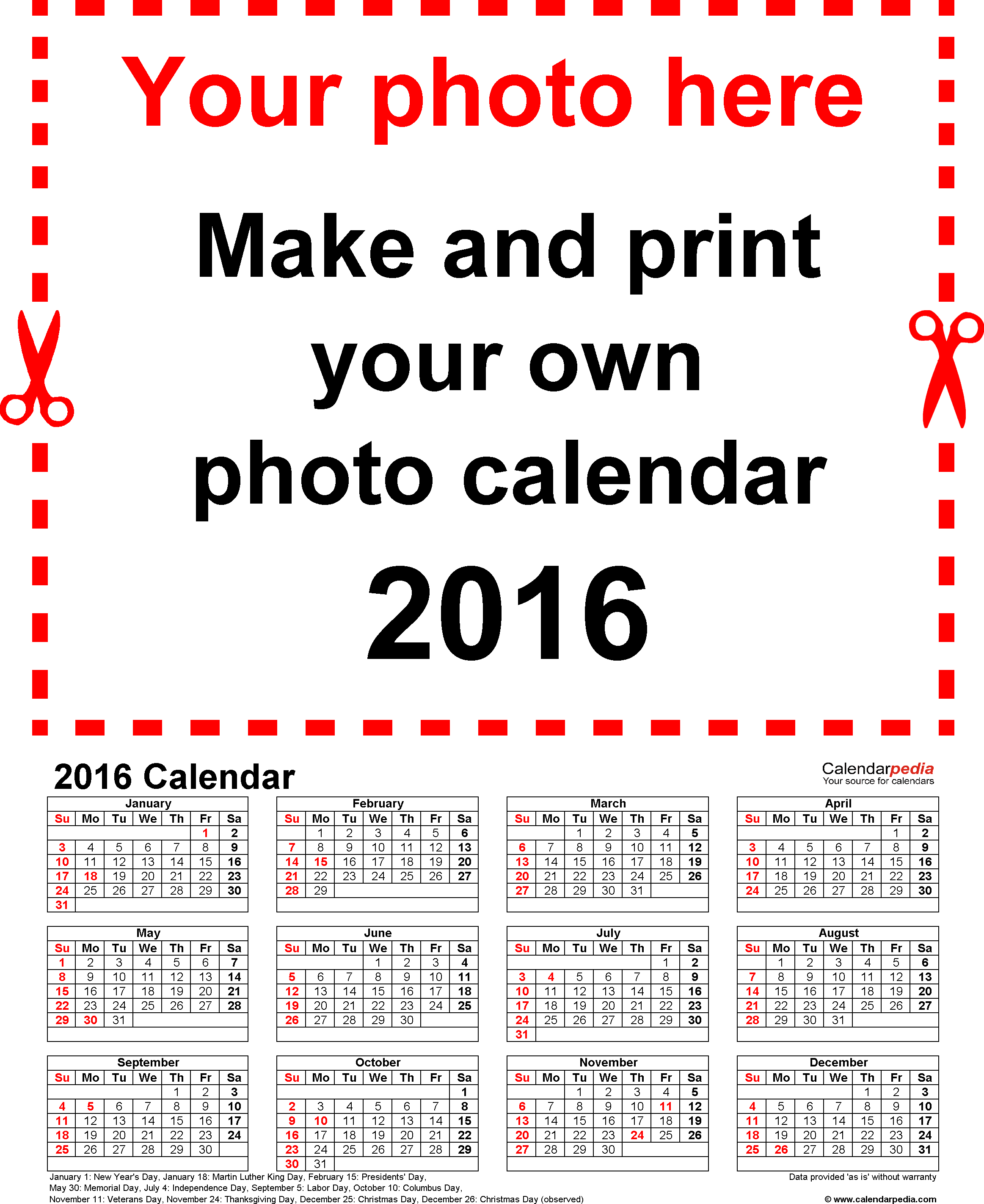 Template 4: Photo calendar 2016 for Excel, portrait format, whole year on one page