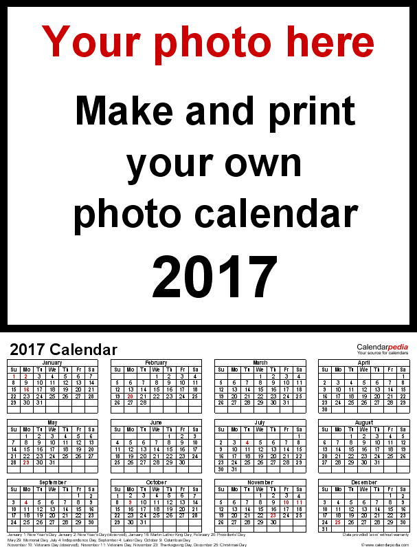 Template 4: Photo calendar 2017 for PDF, portrait format, whole year on one page