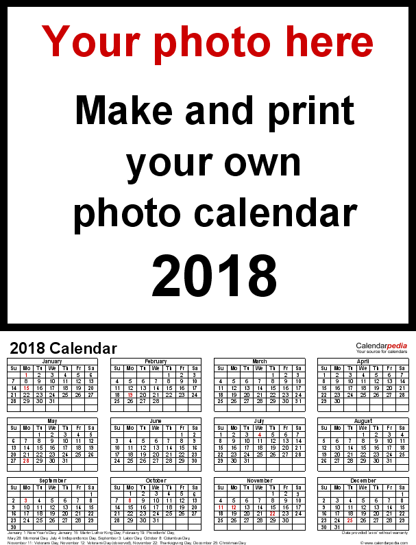 Template 4: Photo calendar 2018 for PDF, portrait format, whole year on one page