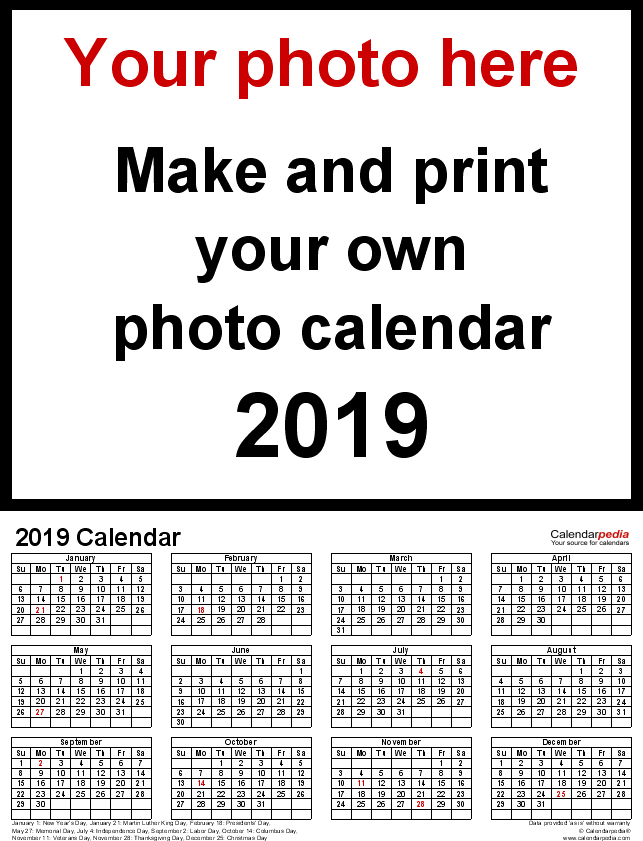 Template 4: Photo calendar 2019 for PDF, portrait format, whole year on one page