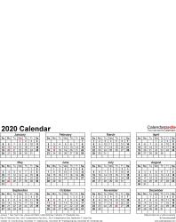 Template 4: Photo calendar 2020 for PDF, portrait format, whole year on one page