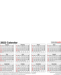 Template 4: Photo calendar 2022 for PDF, portrait format, whole year on one page
