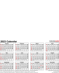 Template 4: Photo calendar 2023 for PDF, portrait format, whole year on one page