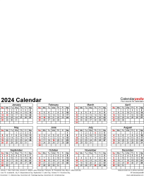 Download Template 4: Photo calendar 2024 for PDF, portrait format, whole year on one page