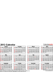 Template 4: Photo calendar 2013 for Word, portrait format, whole year on one page