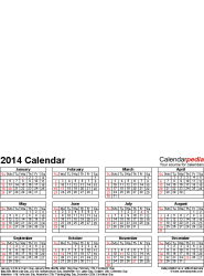 Template 4: Photo calendar 2014 for Excel, portrait format, whole year on one page