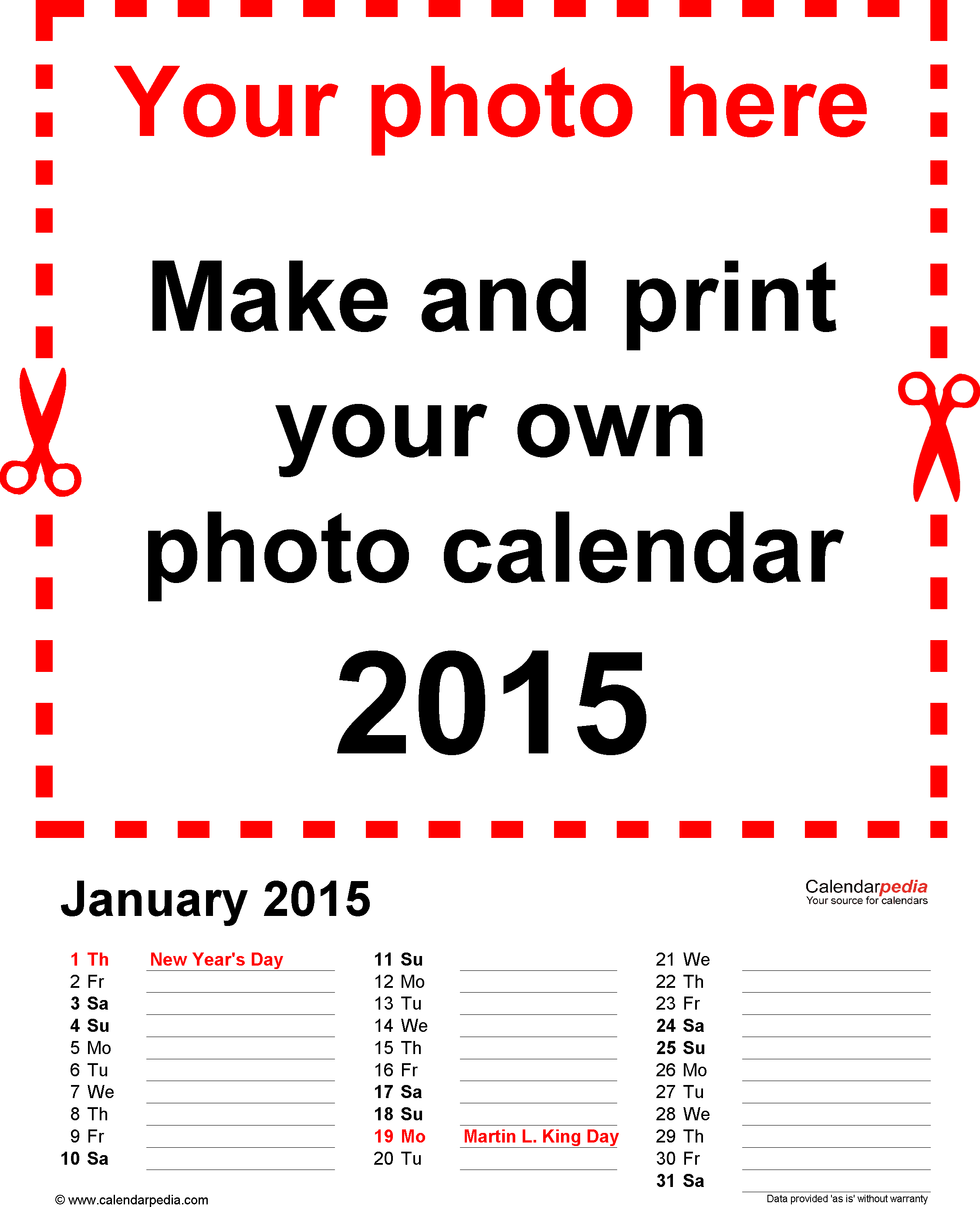 Download Template 3: Photo calendar 2015 for Word, 12 pages, portrait format, days in three columns