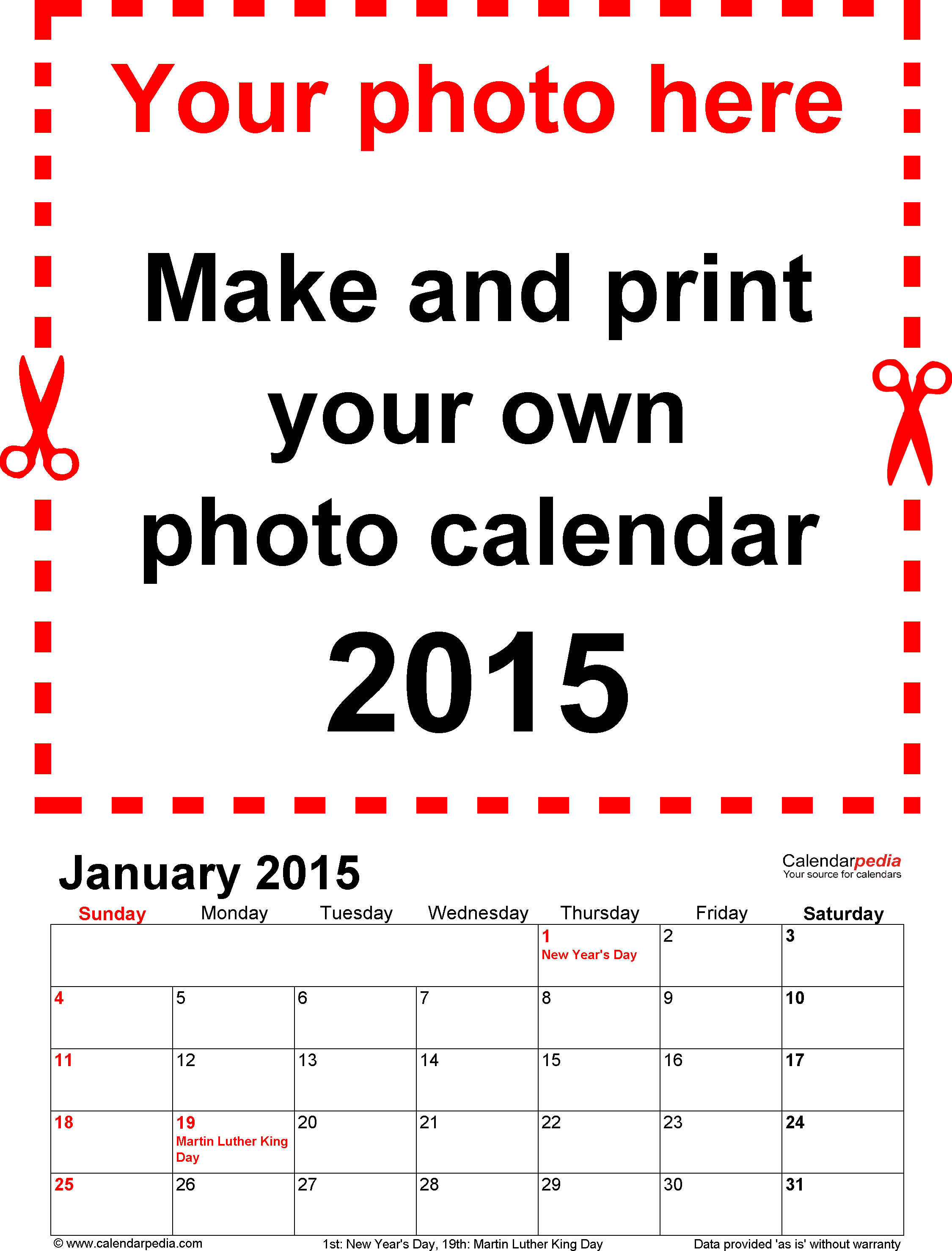 Template 1: Photo calendar 2015 for PDF, 12 pages, portrait format, standard layout
