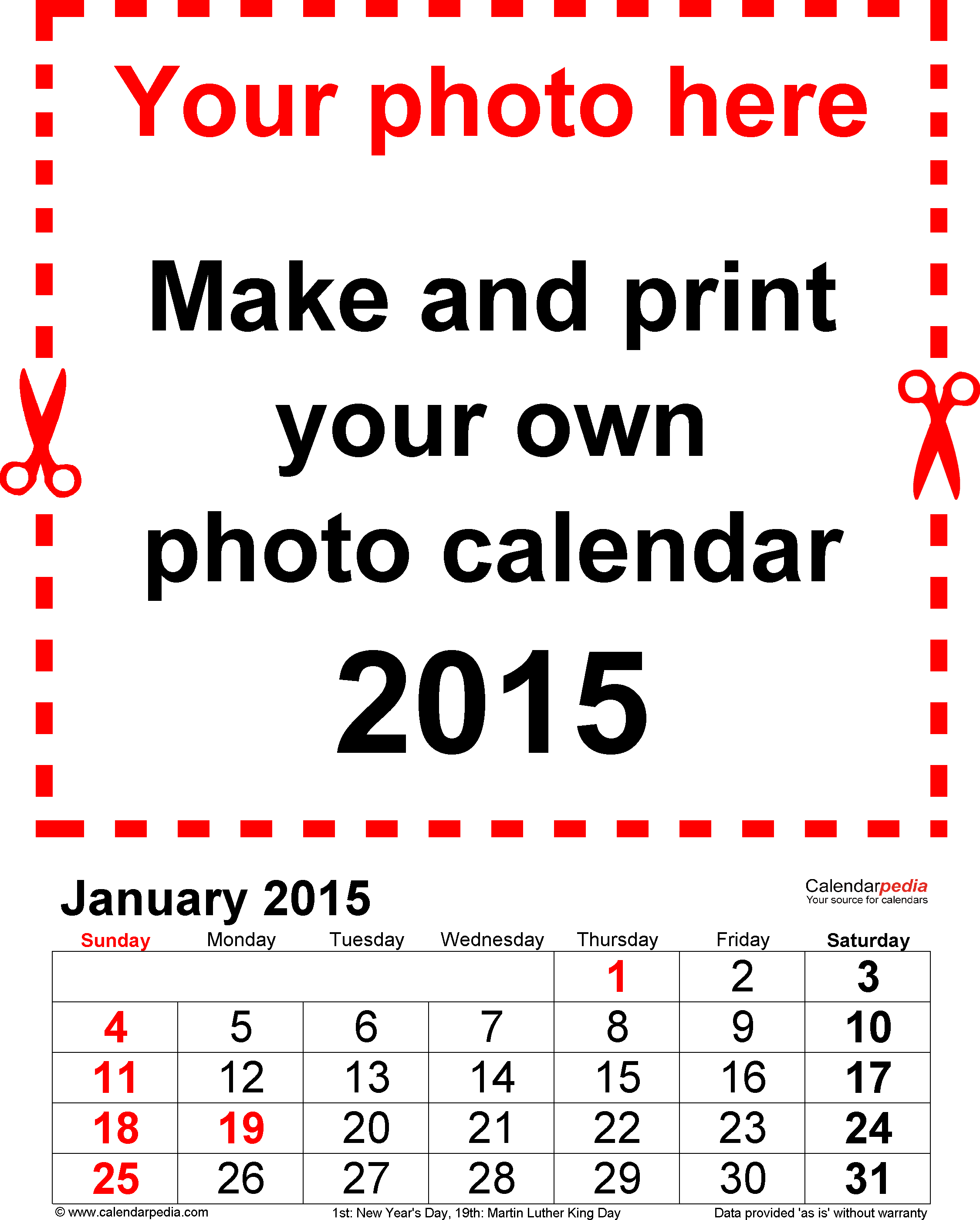 Photo calendar 2015 - free printable PDF templates