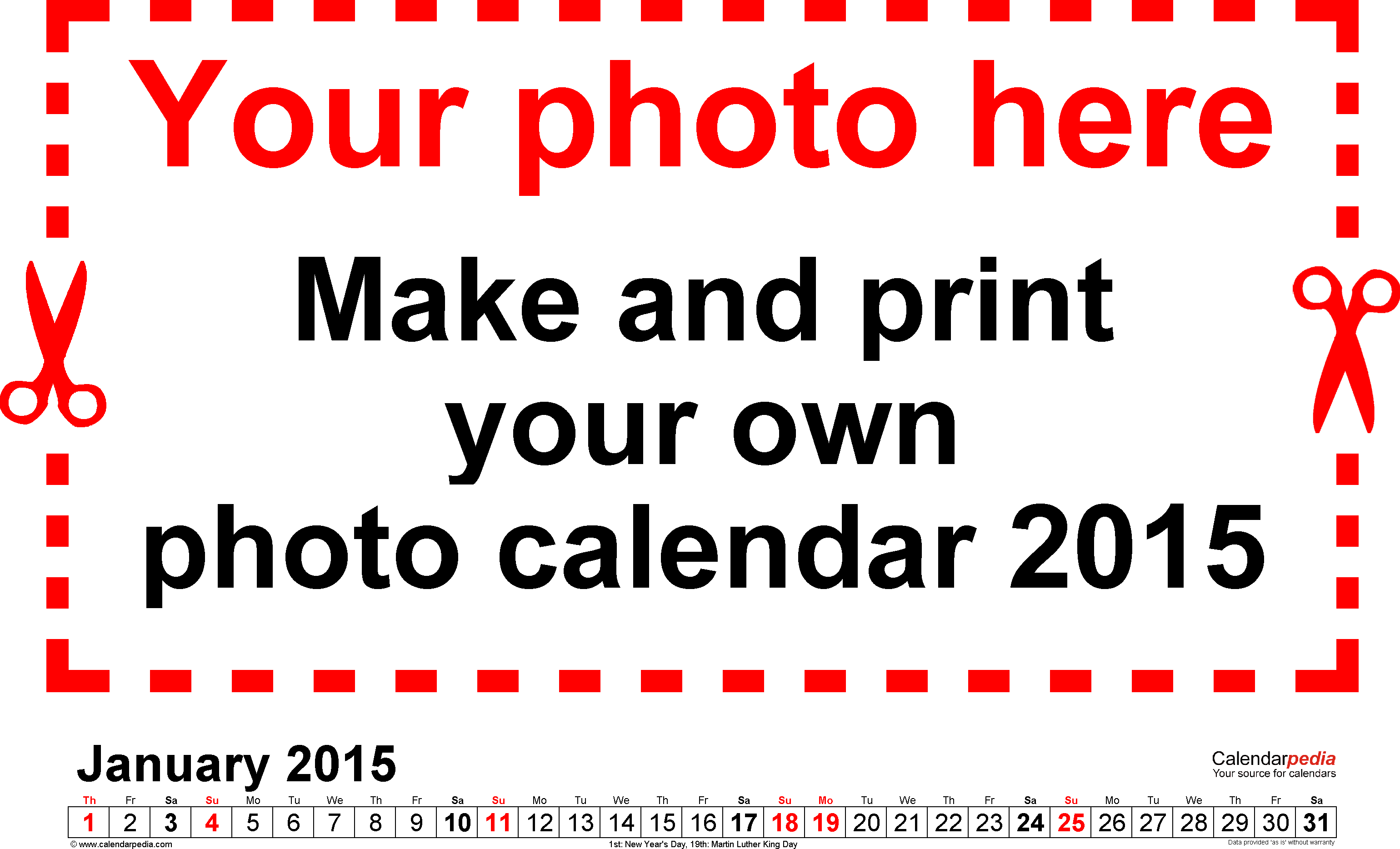 Template 5: Photo calendar 2015 for PDF, 12 pages, landscape format