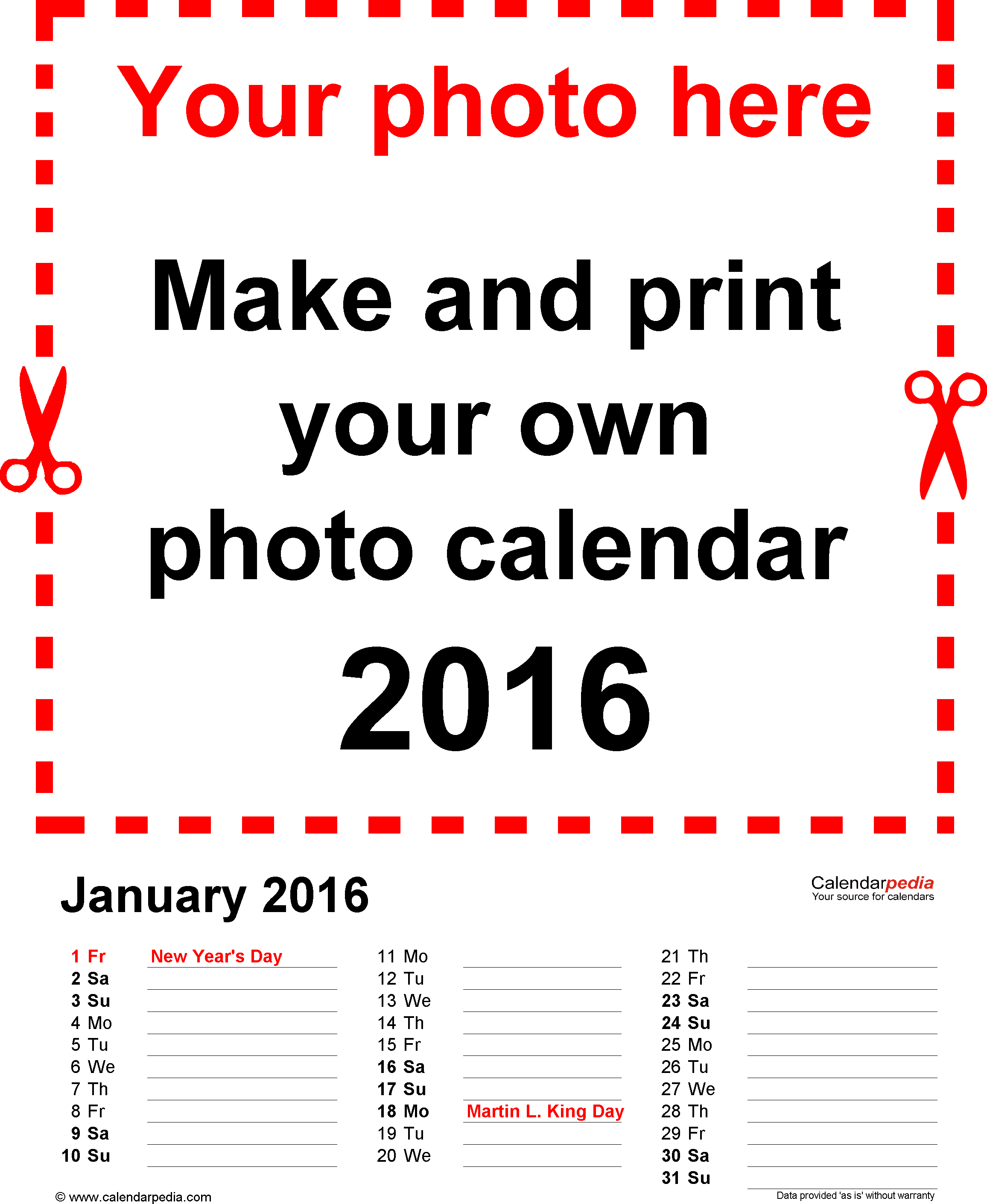 Template 3: Photo calendar 2016 for Excel, 12 pages, portrait format, days in three columns
