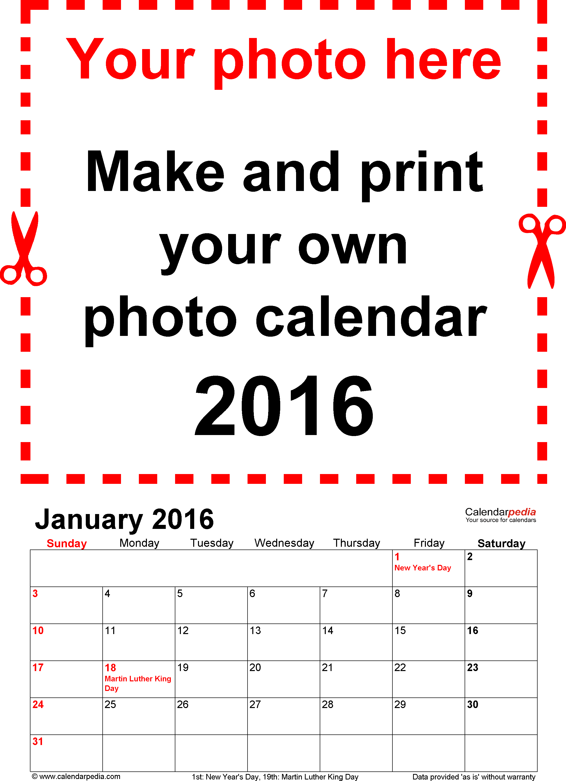 Template 1: Photo calendar 2016 for Excel, 12 pages, portrait format, standard layout
