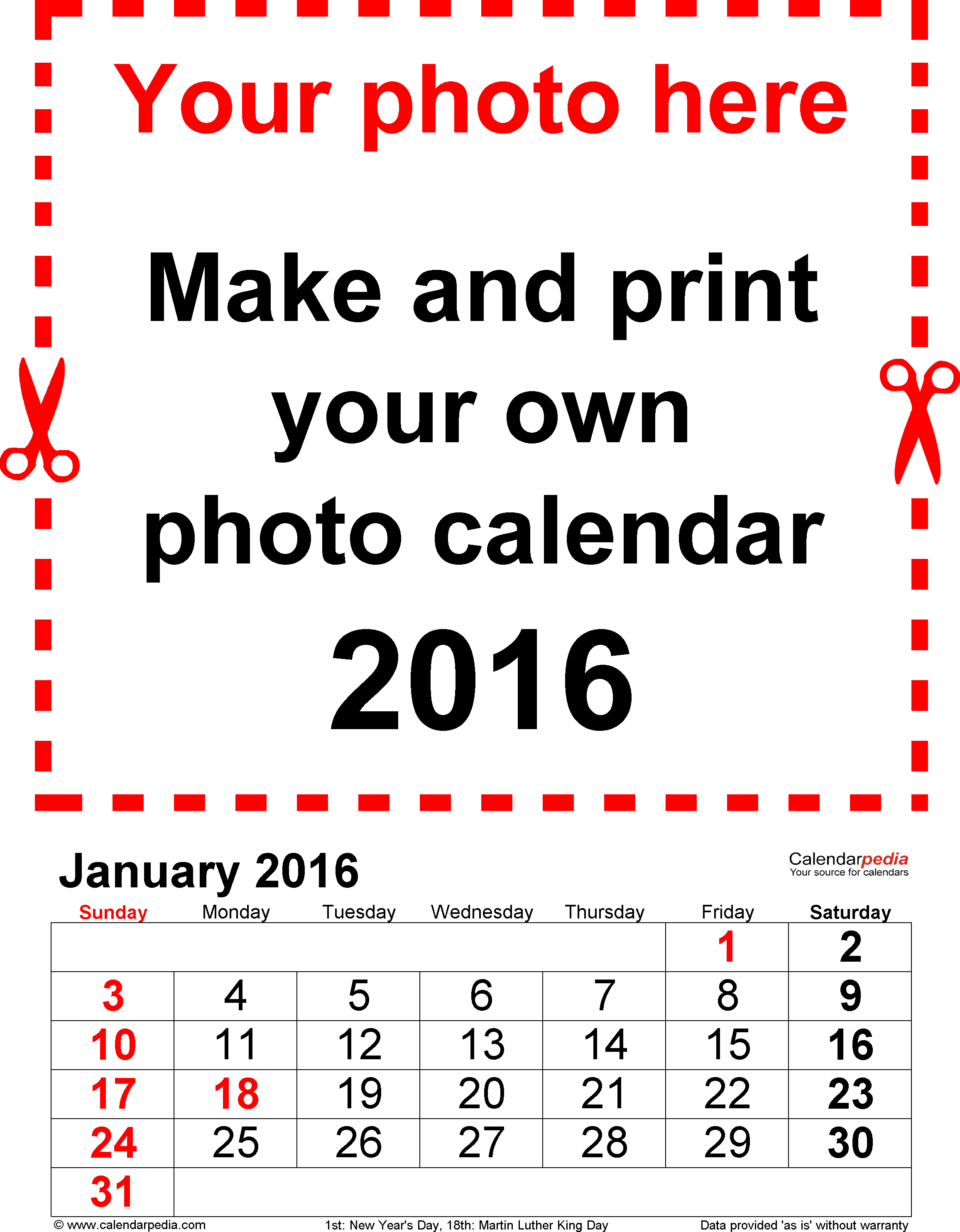 Template 2: Photo calendar 2016 for Excel, 12 pages, portrait format, large numerals for easy reading
