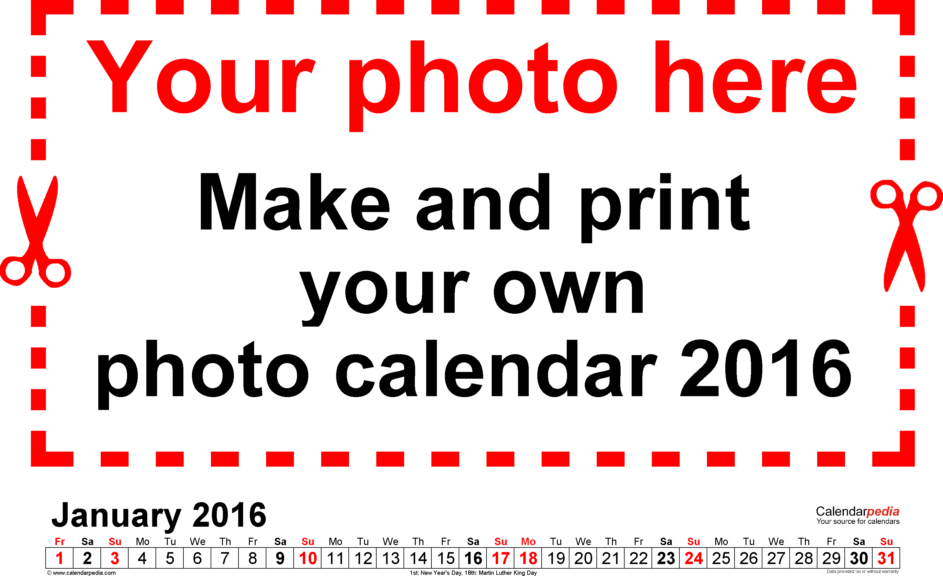 Template 5: Photo calendar 2016 for PDF, 12 pages, landscape format
