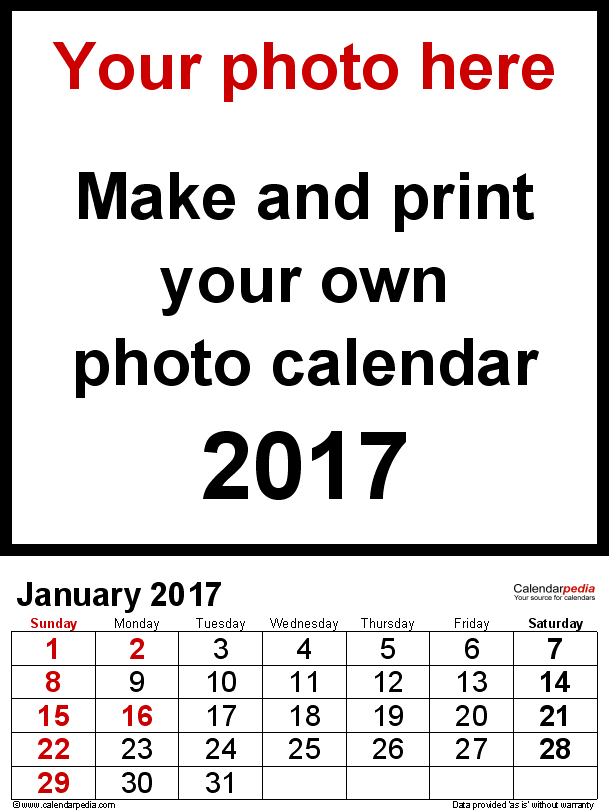 Template 2: Photo calendar 2017 for PDF, 12 pages, portrait format, large numerals for easy reading