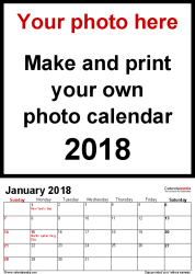 Template 1: Photo calendar 2018 for PDF, 12 pages, portrait format, standard layout