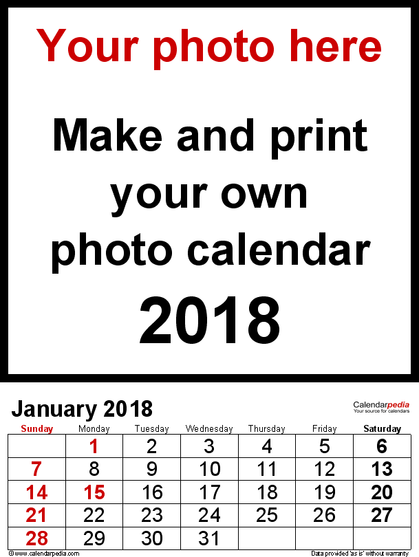 template 2 photo calendar 2018 for word 12 pages portrait format large