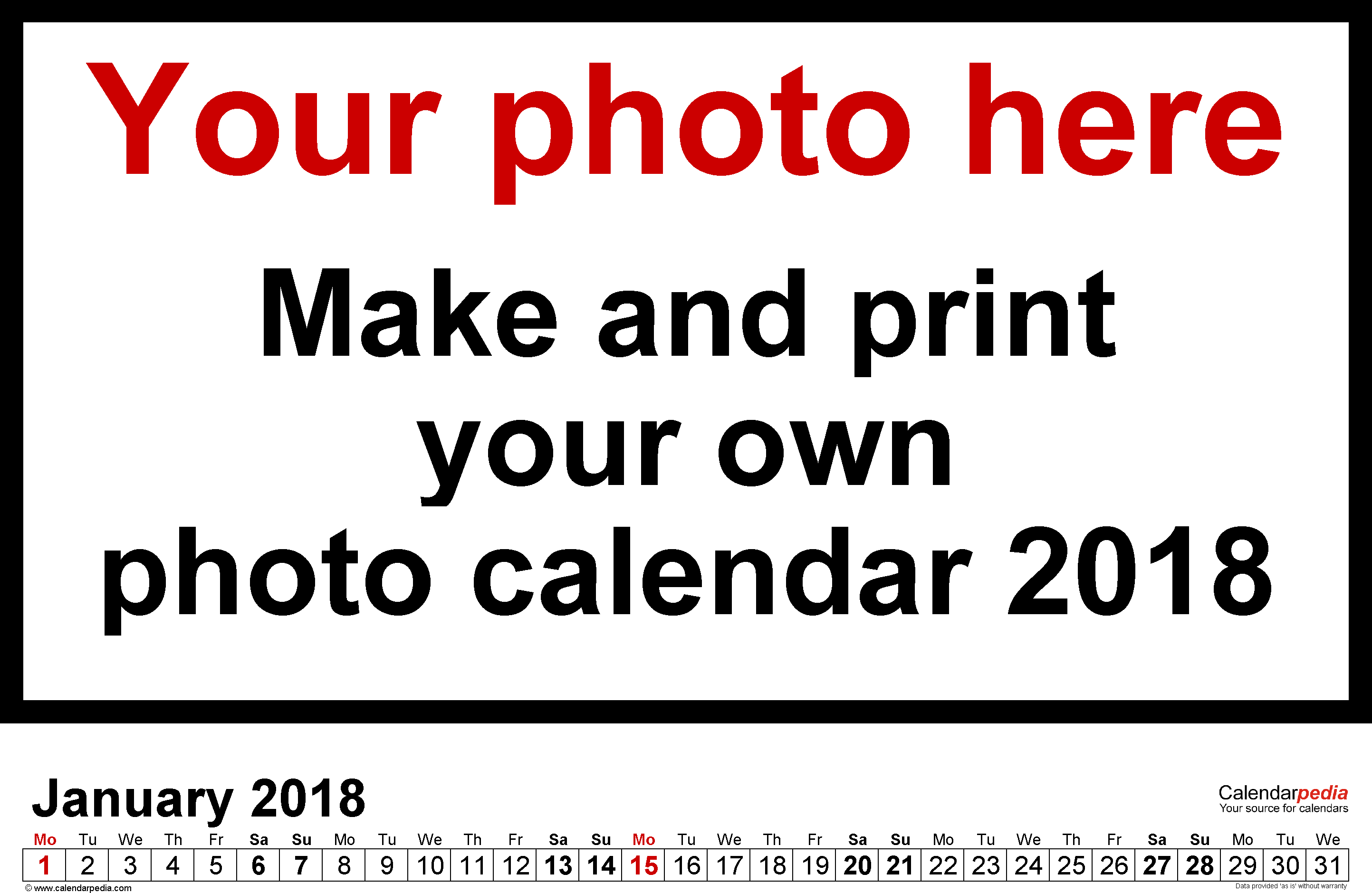 Template 5: Photo calendar 2018 for PDF, 12 pages, landscape format