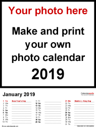Template 3: Photo calendar 2019 for PDF, 12 pages, portrait format, days in three columns