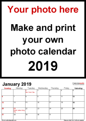 Download Template 1: Photo calendar 2019 for Excel, 12 pages, portrait format, standard layout