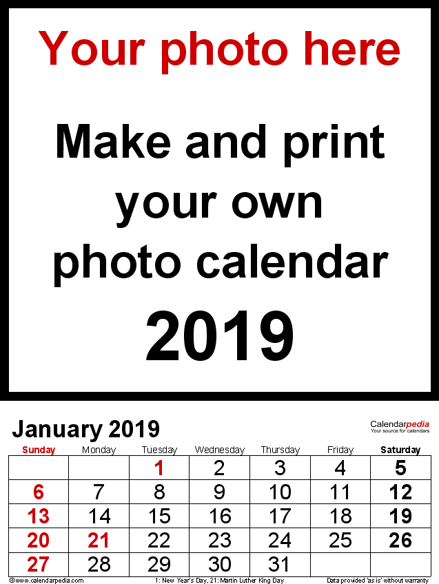 Template 2: Photo calendar 2019 for Excel, 12 pages, portrait format, large numerals for easy reading