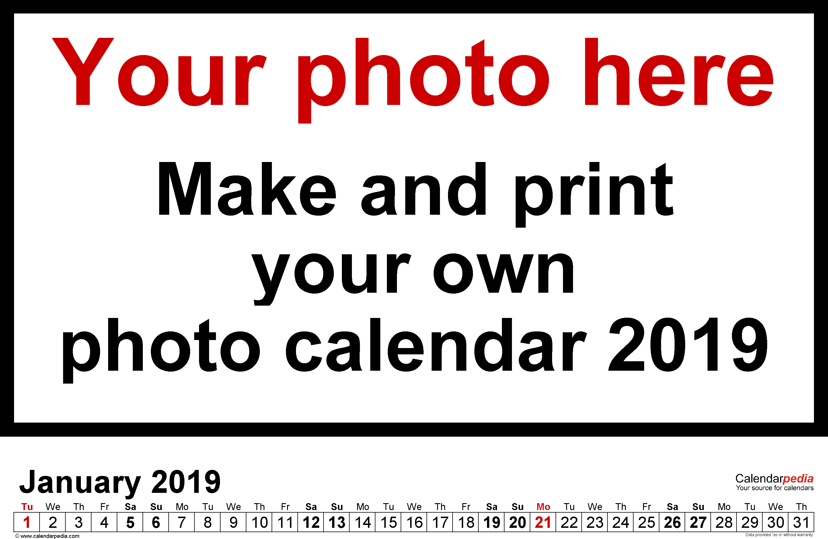 Template 5: Photo calendar 2019 for PDF, 12 pages, landscape format