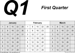 Download Template 2: Quarterly planner in PDF format, landscape, 4 pages, 3 months abreast